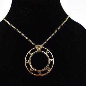 "VERSACE: Gold, Metal ""Medusa"" Logo Long Necklace"